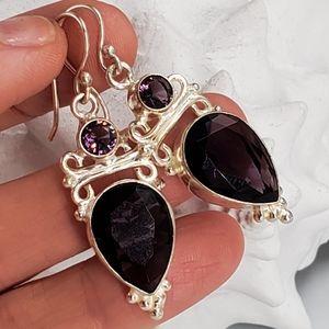 Silver Earrings Amethyst Stone Purple Quartz
